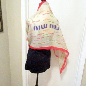 """Miu Miu Accessories - Miu Miu 60"""" Silk Scarf Wrap Beige & Red"""